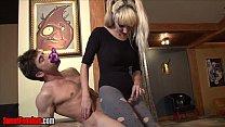 Pixie Von Bat ballbusting and feeding pre cum