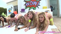 SWALLOWED Gorgeous babes share and deepthroat a...