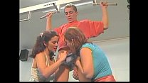 2 girls play with a guy and their toys thumbnail