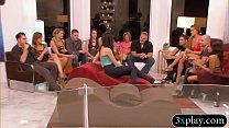 swingers swap partners and massive group sex in red room