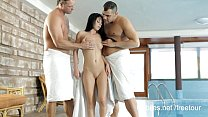 Spit roasted cutie jizzed at both ends