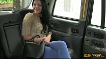 hottie brunette carmel gets tricked by the driver into fuck