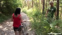 Busty biker chick Terry gets nailed in woods