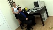 secretary interrupts her boss in his office for a full on sex session