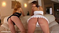 Carmen and Krystal in hardcore fuck and cum swapping scene from Sperm Swap