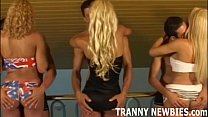 gangbang hardcore first her gets tranny Blonde