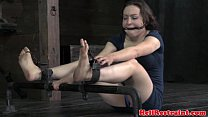 Mouth hooked skank being restrained