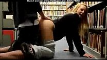 cute blonde teen bj and doggystyle in public library