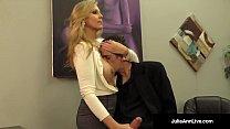 busty blonde milf julia ann milks cum from rock hard dick