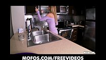 Stunning blonde wife strips in the kitchen and ...