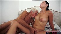 Dolly Diore sucks off  a grandpas cock and sits...