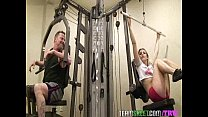 horny gym babe bailey blue seduces her fitness trainor into fucking her