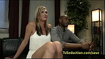 Busty blonde tranny fucks black guy