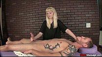 blonde teen ties up his boner and dominates hi…