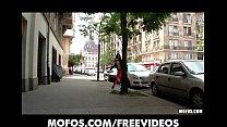 Petite Euro brunette deepthroats and rides a th...