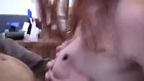 Big tit MILF strips and gets tricked into blowi...
