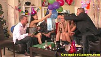 Strapon wielding amateur game playing group porn videos