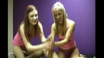 Two jerky sexy Blondes are able to extract cum ...