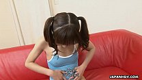 Petite and adorable Asian teen getting face spu...