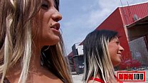 2 hot spanish girls sucking and fucking in public place great threesome