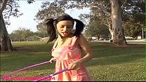 teen hoola hoop outdoor gets fucked and face splattered