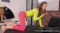 Fishnet-clad teen urinating in her tights