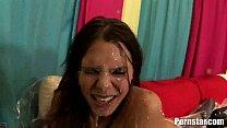 sex group bukakke messy a in brunette Gorgeous