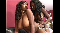 thick big tit lesbian sistas use same strap on to fuck their black pussies