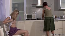Lesbian mom girl fooling on the kitchen porn videos