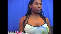 Sexy black babe with big tits teasing on cam