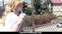 pussy... up gives blonded stranded Teenslovemoney-