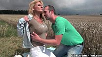 outdoors fucked gets tits big with lady senior Sexy