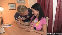 lovely brunette cheats with her bf s bro
