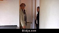 Old salesman fucks young coed at a meeting
