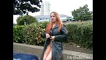 Busty milf Ginas public nudity and english flas...