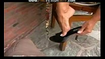 black high heels and toes fetish