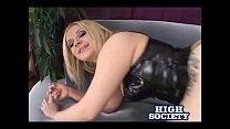 Blonde Aaralyn Barra Sucking Two Cocks