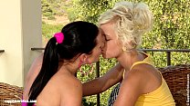 Lusty Lesbians Lila and Mischelle engage in som...
