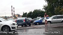 Amateur teen giving footjob in the car before a...