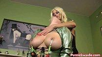 blonde euro puma punishes her busty slave
