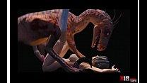 chica cogiendo Dinosaurio