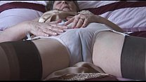 strips panties thru see with stockings and slip in granny Hairy
