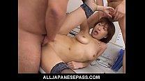 Japanese cougar Jun Kusanagi sucking cock at th...