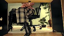 secretary with boots under desk masturbation video