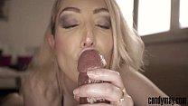 candy may blonde gives handjob and tongue job to bbc
