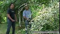 Double gangbang outdoors