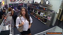busty waitress sucks panwshop owners cock for extra tips