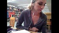 Busty blonde Kendra Sunderland masturbates in college library porn videos