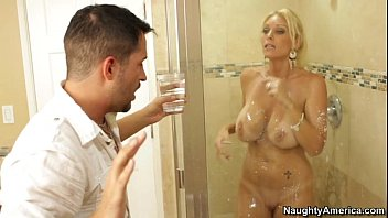 Busty blonde milf gets fucked in the bathroom who is she???