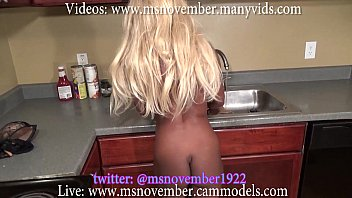 Ebony teen step sister is blackmailed by step brother in kitchen sprea..